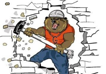 Contractor/construction worker bear with sledgehammer hardhat, and big muscles, demolishing wall. Logo for contracting company