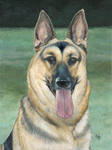 German Shepherd dog in meadow acrylic painting