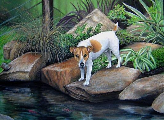 Jack Russel terrier on rocks at pond painting in oil
