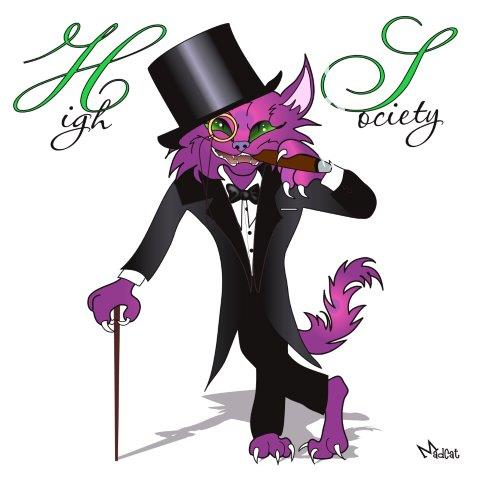 Digital art purple cat in suit and top hat, High Society album cover