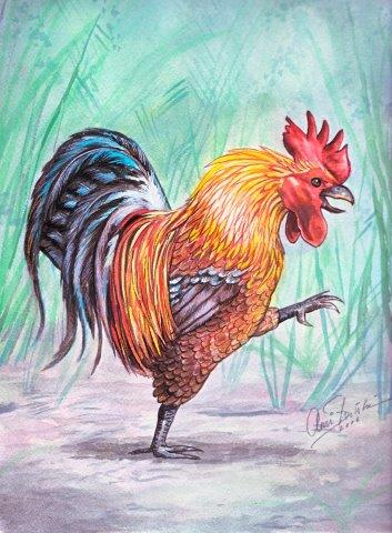 Painting of walking rooster