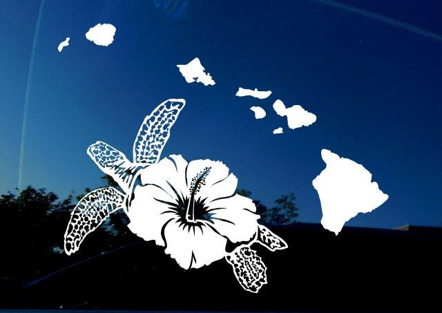 Hawaii HI island turtle decal by Amiart.com. Featuring sea turtle with flower as it's shell, and all Hawaii islands. Vinyl for cars, trucks, SUVs, windows, laptops, and more!