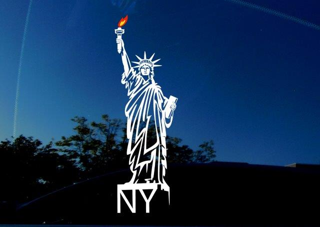 New York City (NY) & State decal featuring the Statue of Liberty. White sticker with yellow and red/orange flame. Vinyl for car windows, trucks, laptops, SUVs, and more!