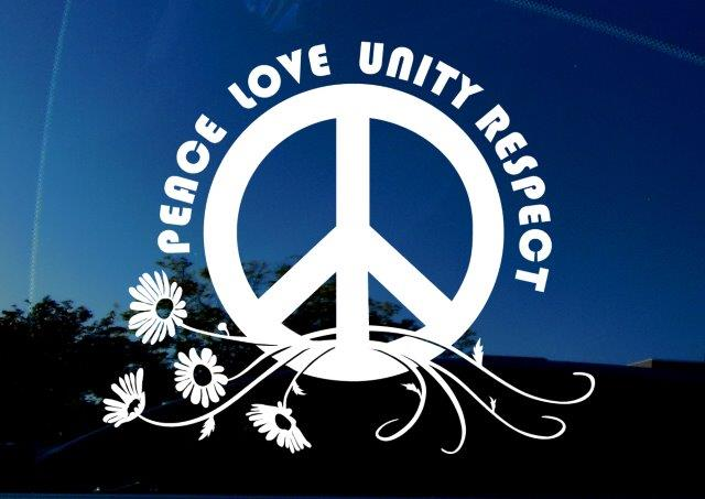 AmiArt Decal: PLUR - Peace, Love, Unity, Respect. Decal featuring peace symbol and daisy flowers.