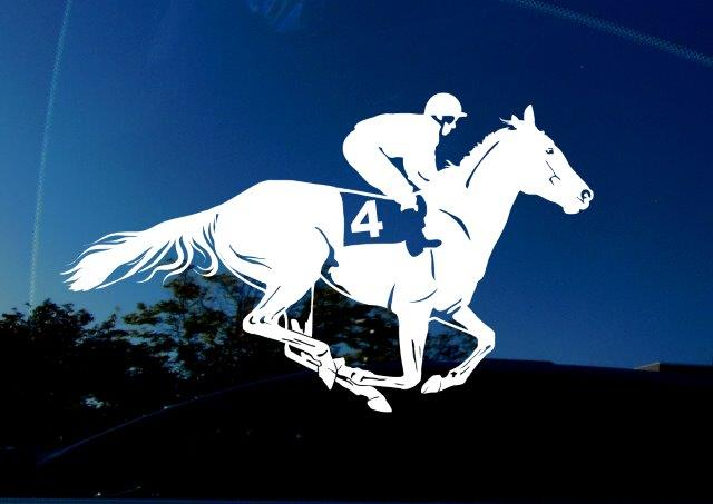 Amiart racehorse decal for cars, trucks, windows, etc. White decal on car window background.