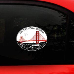 San Francisco decal on car window.